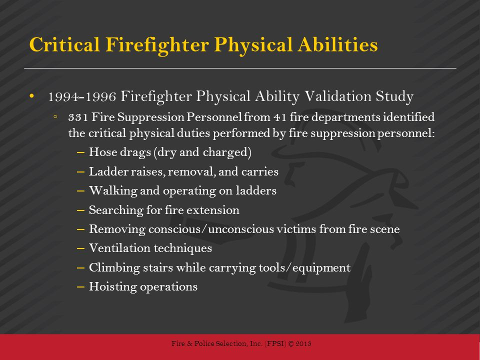 Critical Firefighter Physical Abilities