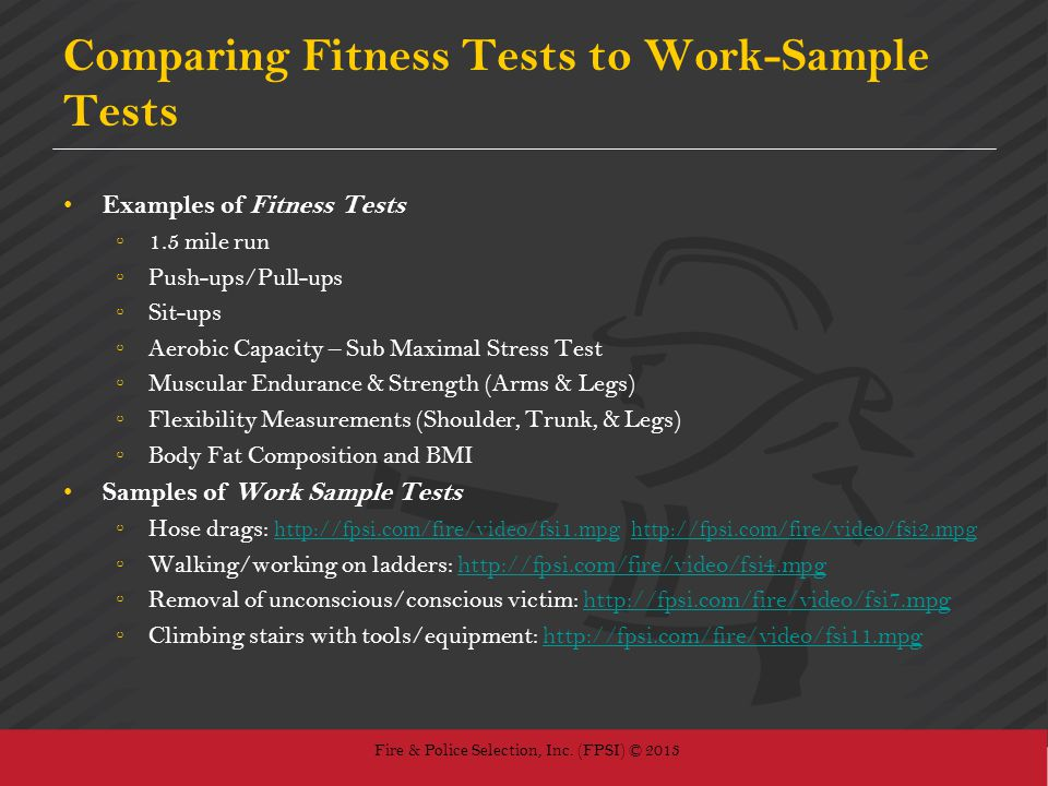Comparing Fitness Tests to Work-Sample Tests
