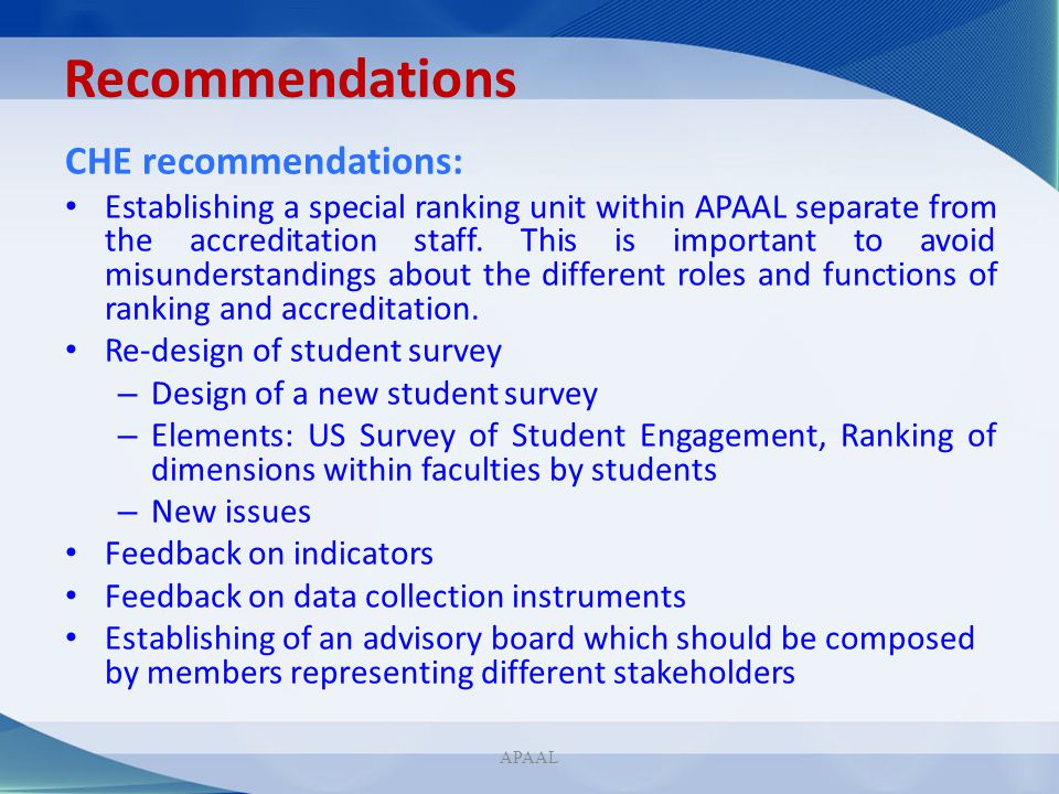 Recommendations CHE recommendations: