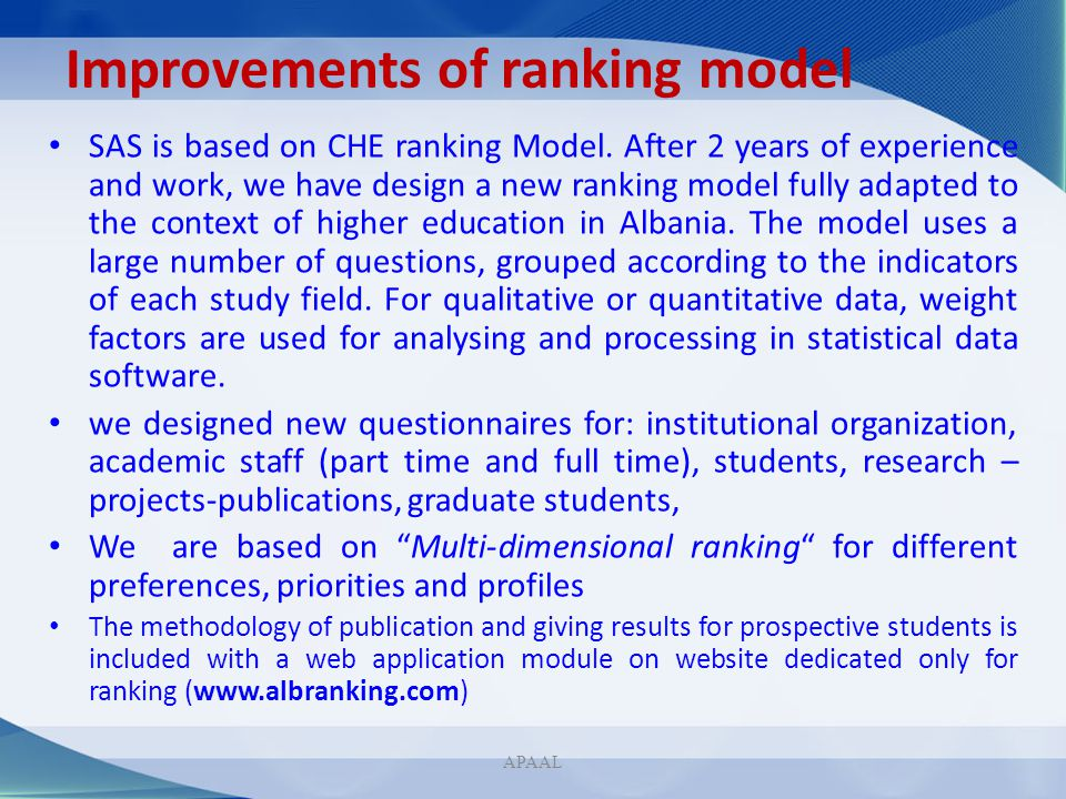 Improvements of ranking model