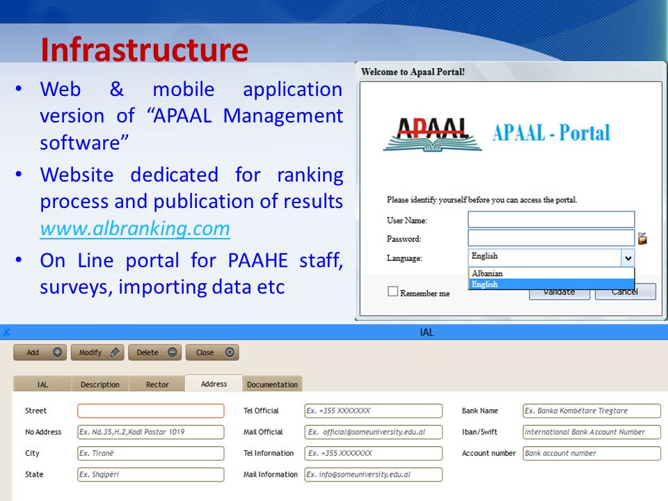 Infrastructure Web & mobile application version of APAAL Management software