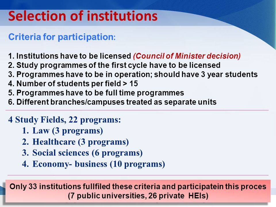 Selection of institutions