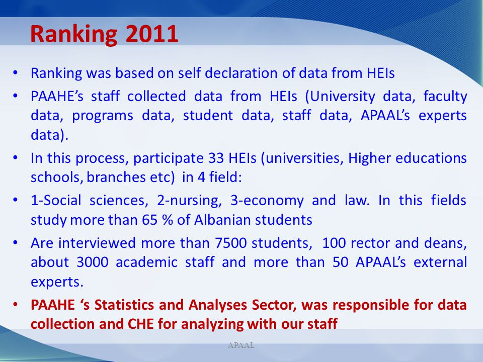 Ranking 2011 Ranking was based on self declaration of data from HEIs