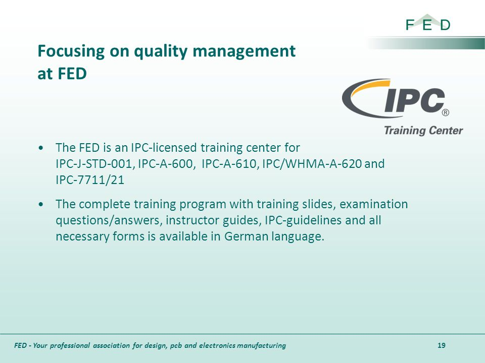 Focusing on quality management at FED