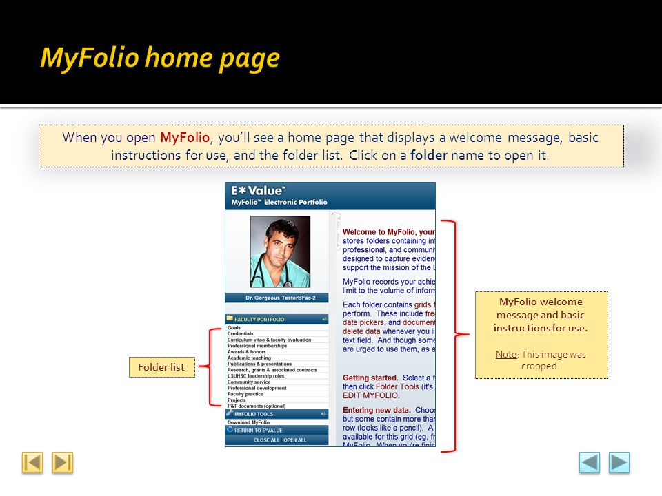 MyFolio welcome message and basic instructions for use.