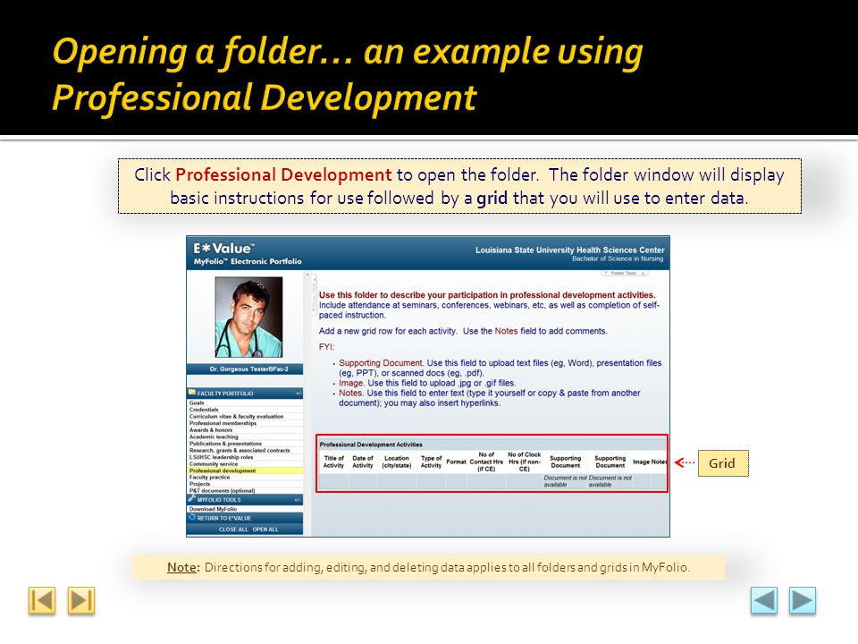 Opening a folder… an example using Professional Development