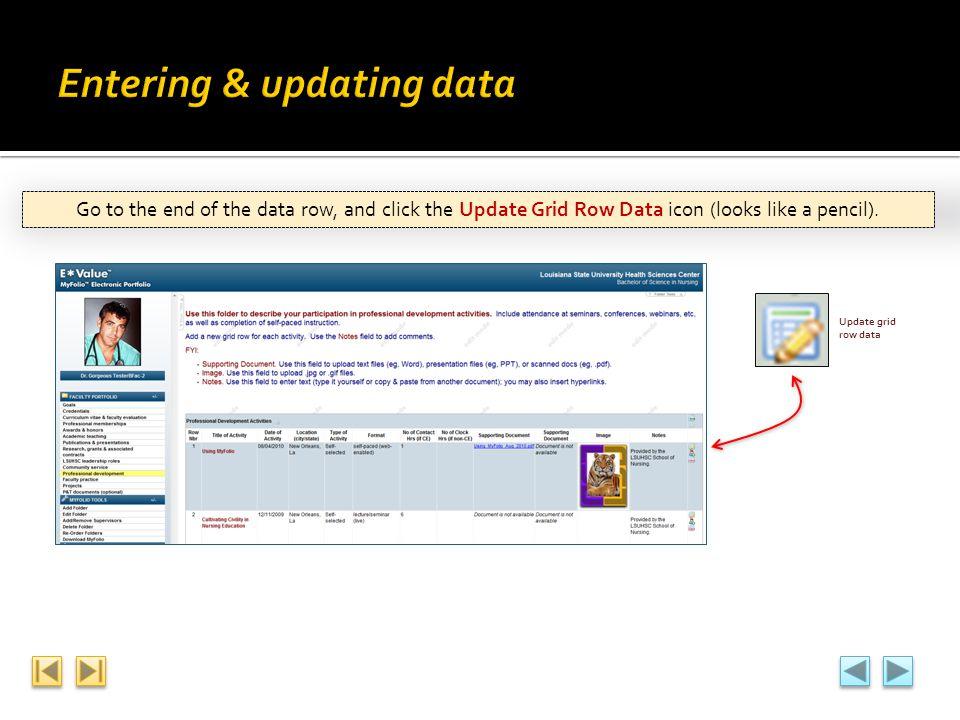 Entering & updating data