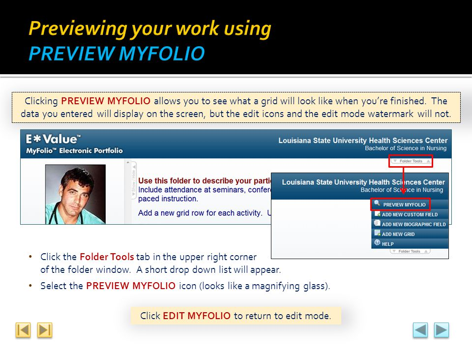 Previewing your work using PREVIEW MYFOLIO
