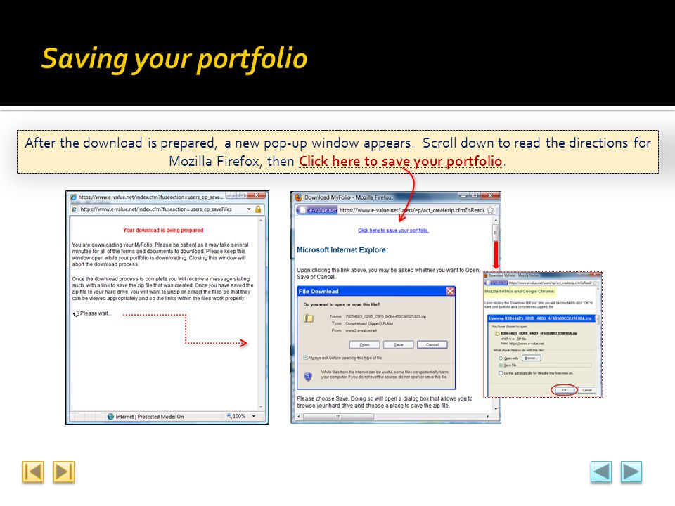 Saving your portfolio