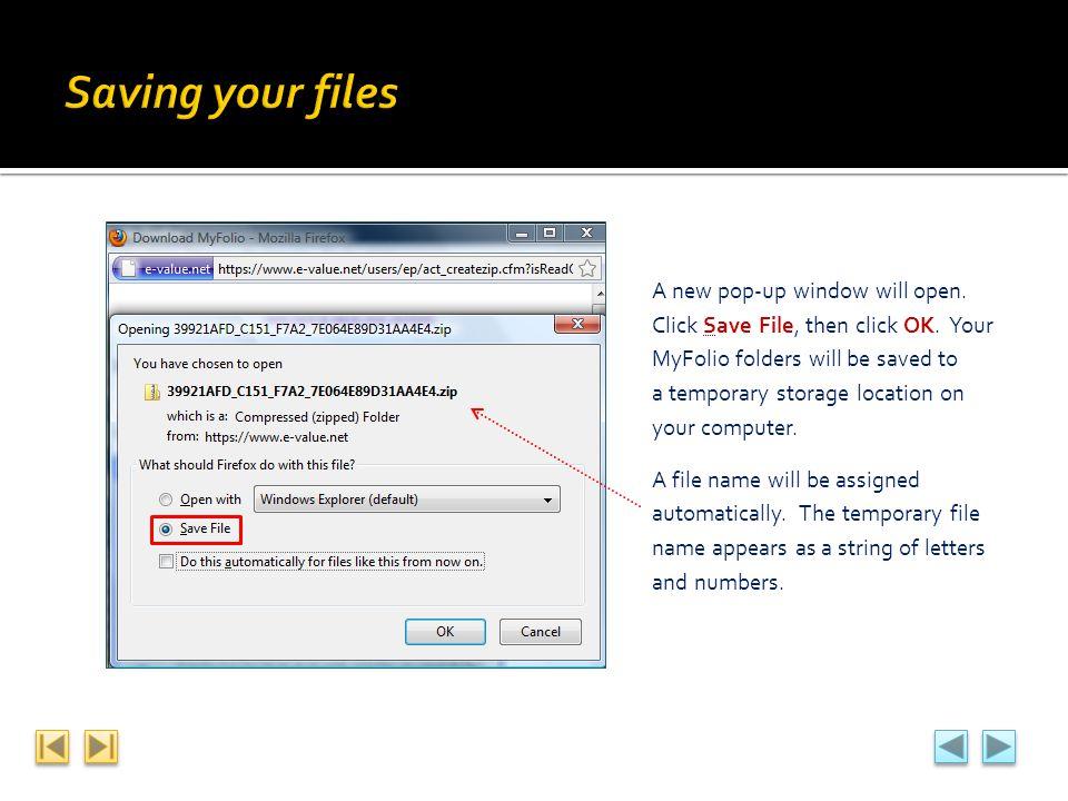 Saving your files