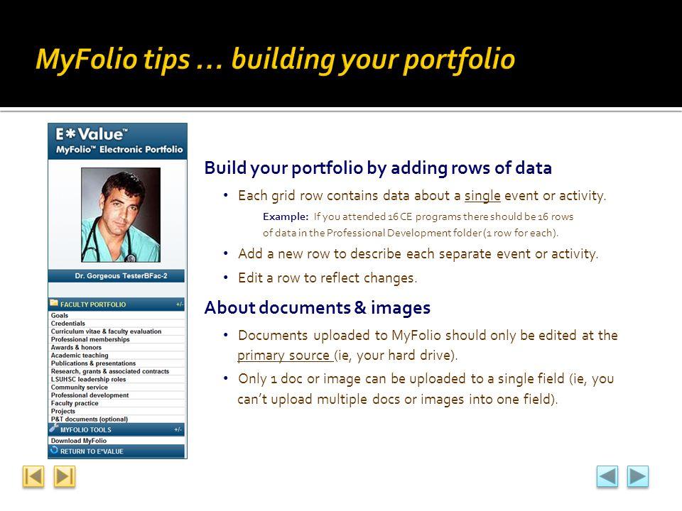 MyFolio tips … building your portfolio