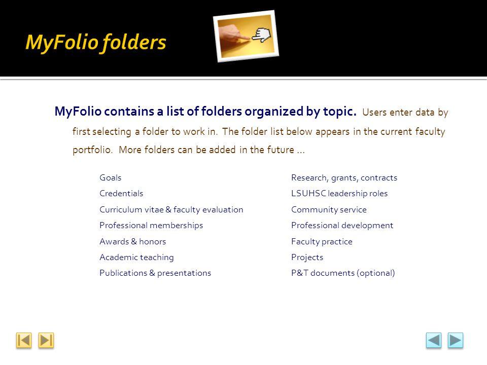 MyFolio folders