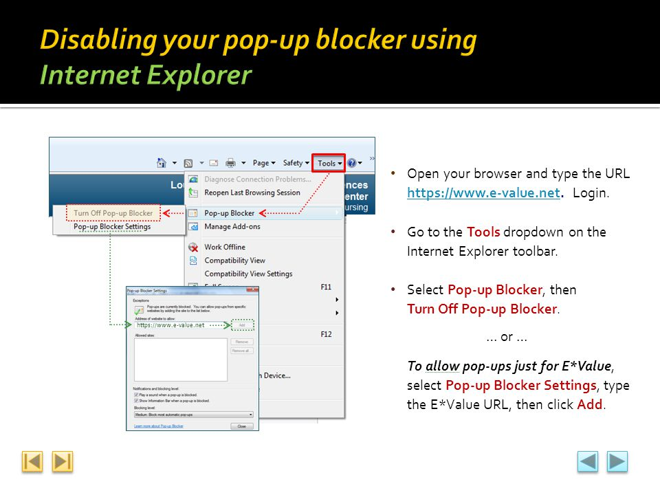 Disabling your pop-up blocker using Internet Explorer