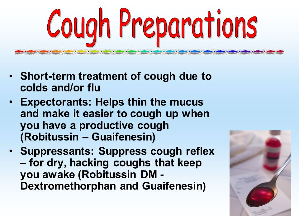 Cough Preparations Short-term treatment of cough due to colds and/or flu.
