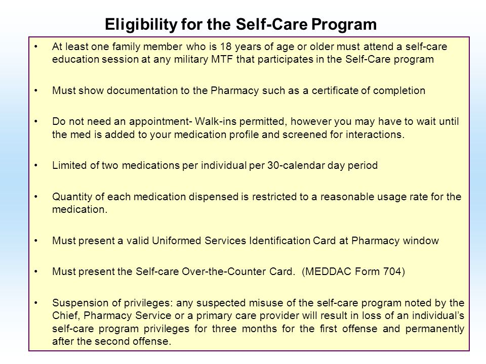 Eligibility for the Self-Care Program
