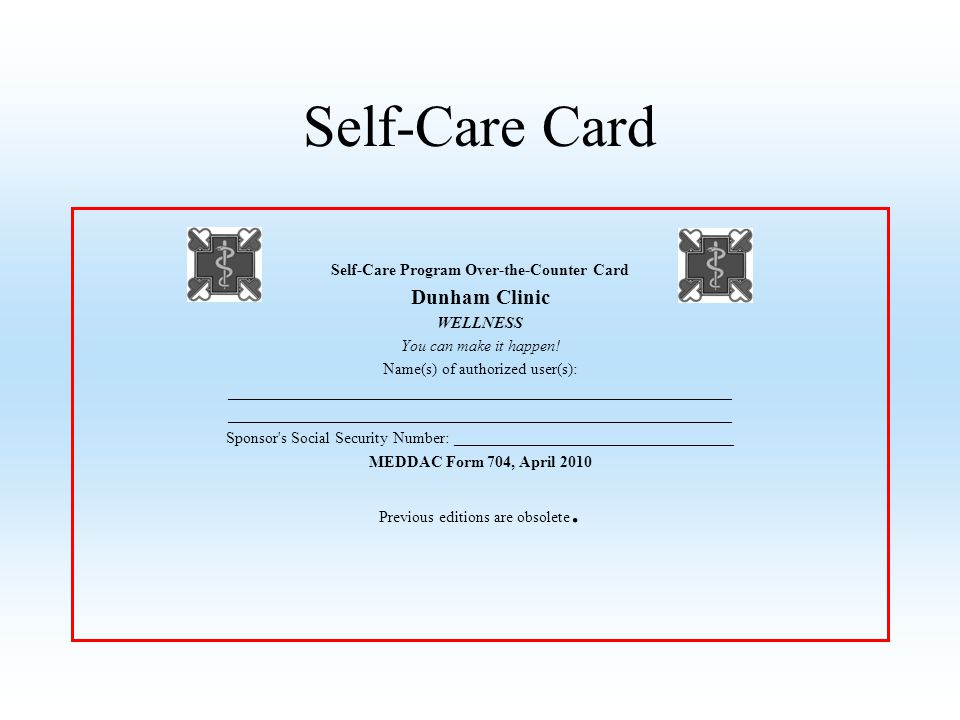 Self-Care Program Over-the-Counter Card