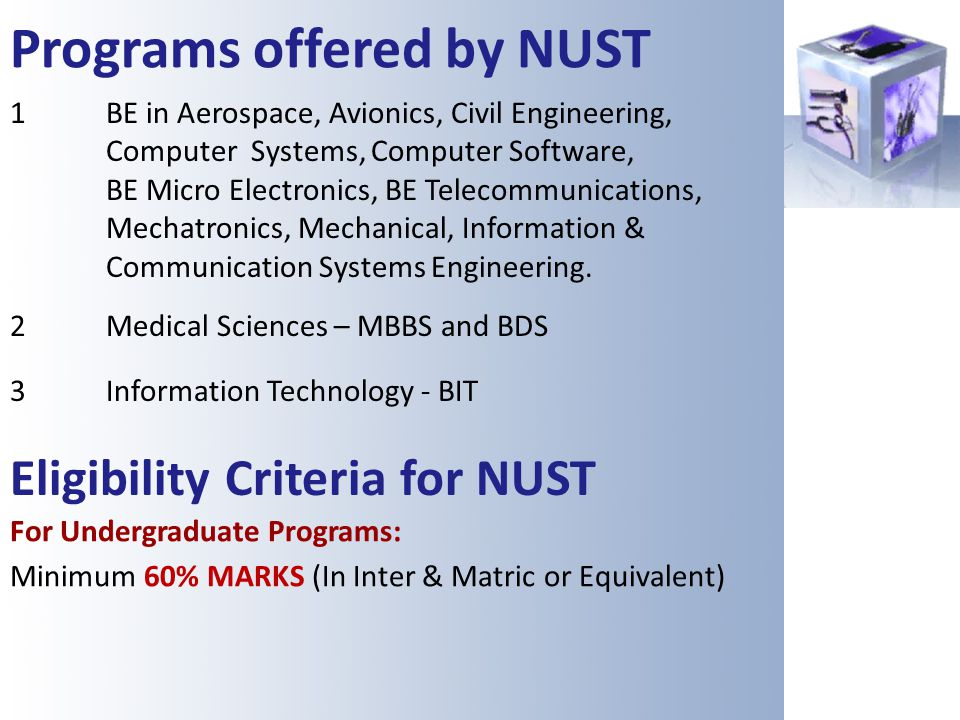 Programs offered by NUST