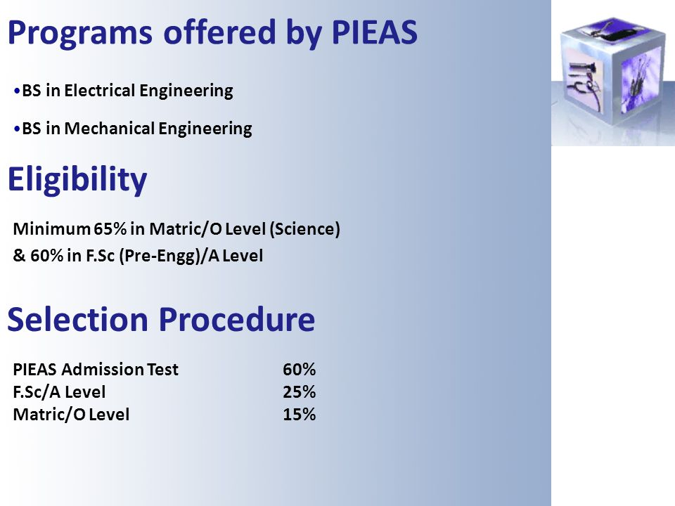 Programs offered by PIEAS