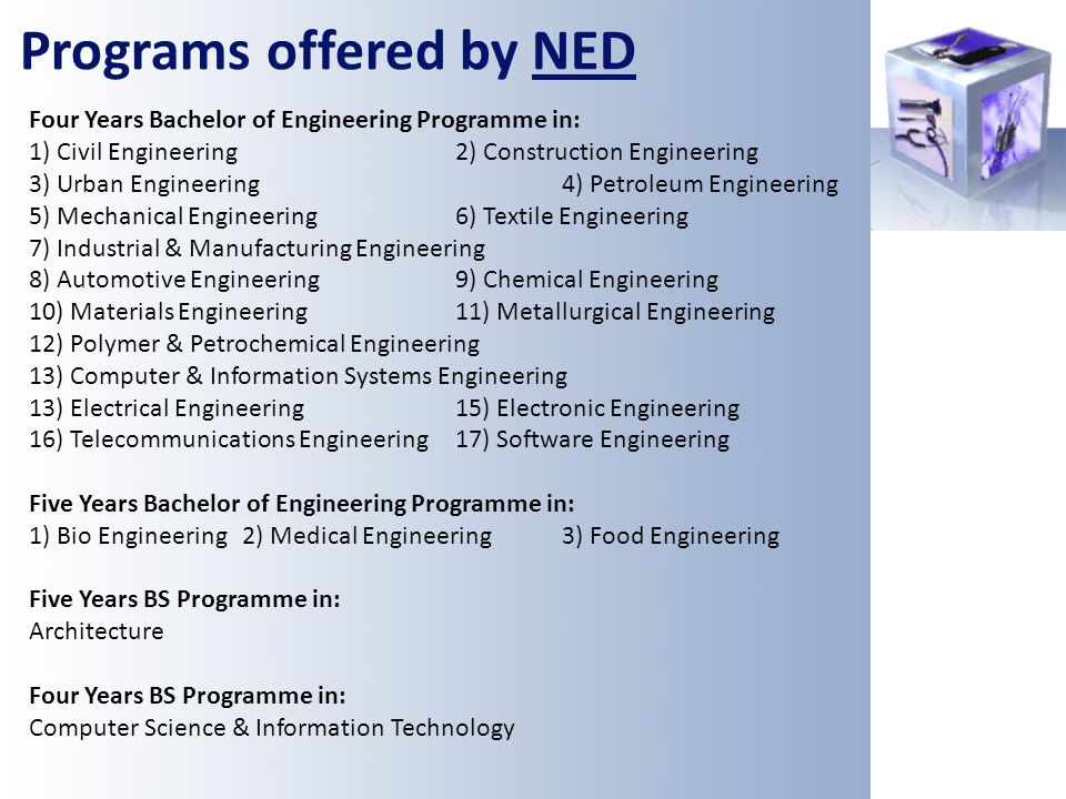 Programs offered by NED