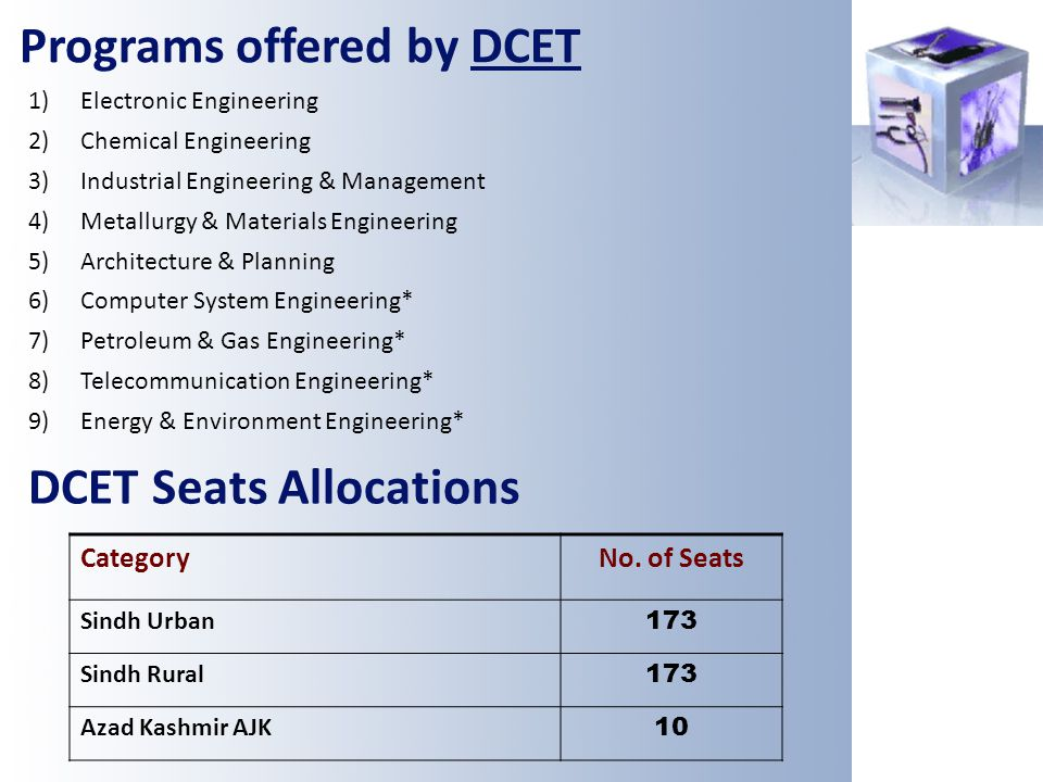 Programs offered by DCET