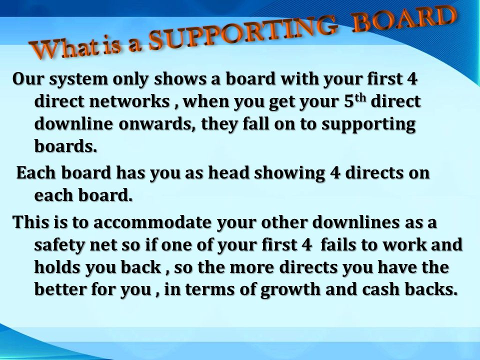 What is a SUPPORTING BOARD