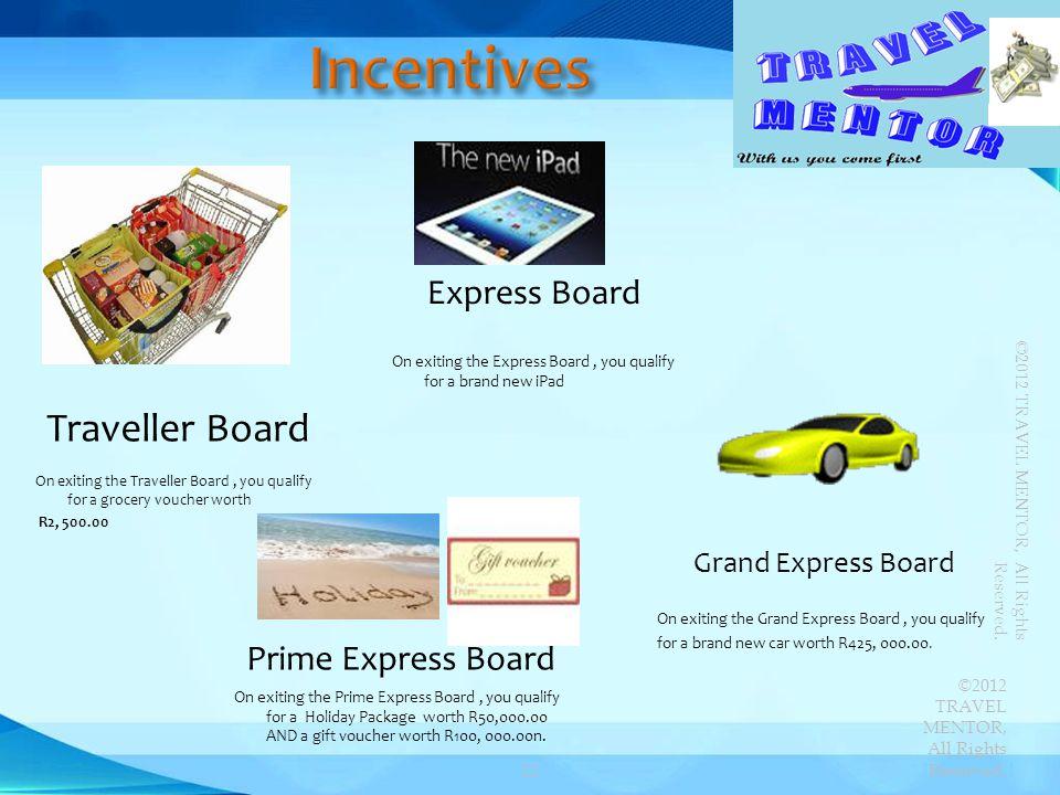 Incentives Traveller Board Express Board Prime Express Board