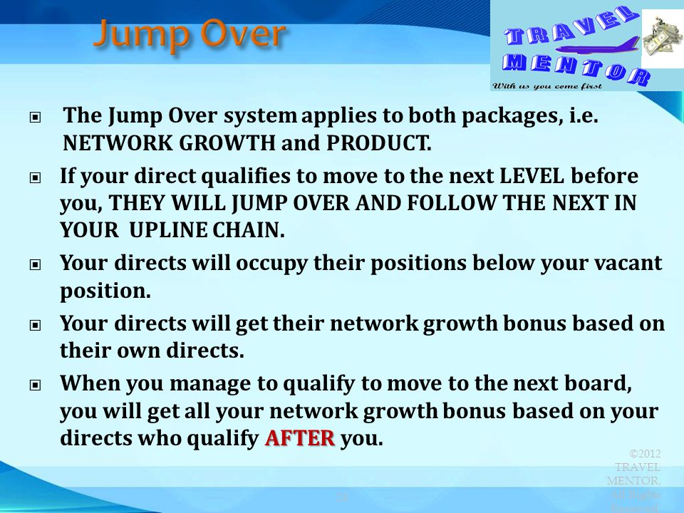 Jump Over The Jump Over system applies to both packages, i.e. NETWORK GROWTH and PRODUCT.