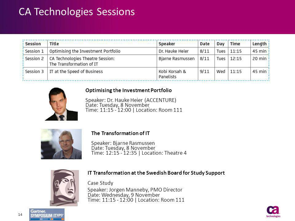 CA Technologies Sessions