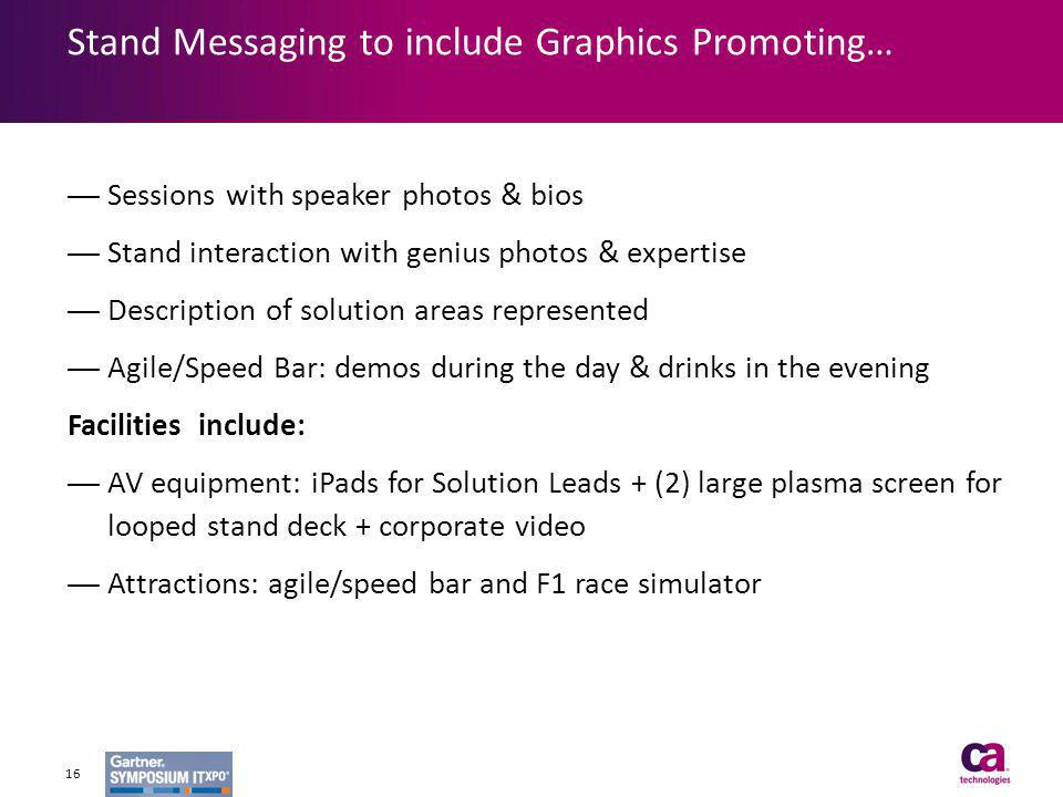 Stand Messaging to include Graphics Promoting…