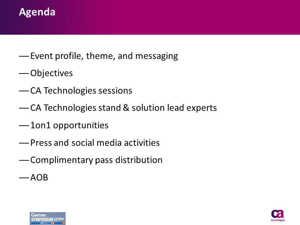 Agenda Event profile, theme, and messaging Objectives