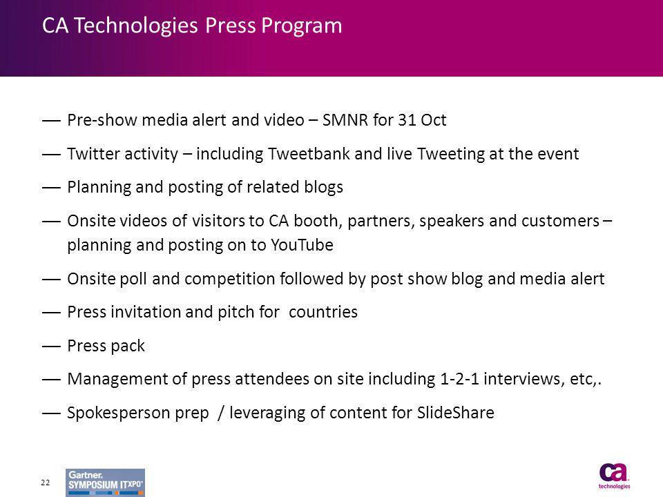 CA Technologies Press Program
