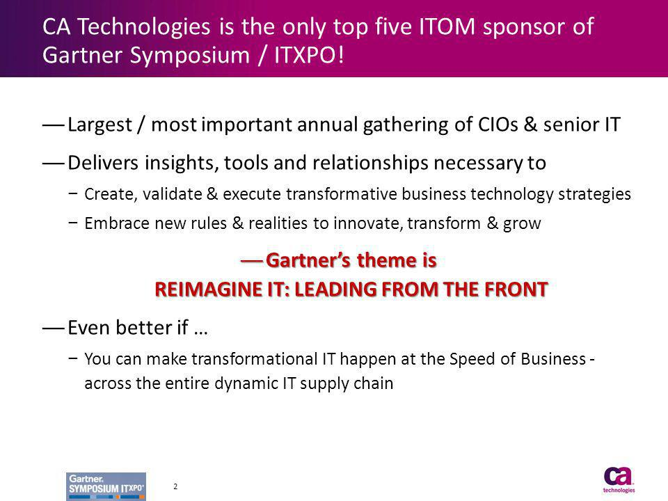 Gartner's theme is REIMAGINE IT: LEADING FROM THE FRONT