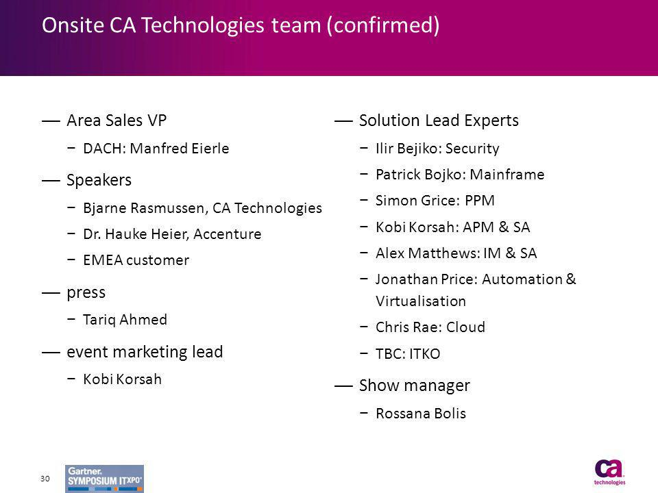 Onsite CA Technologies team (confirmed)