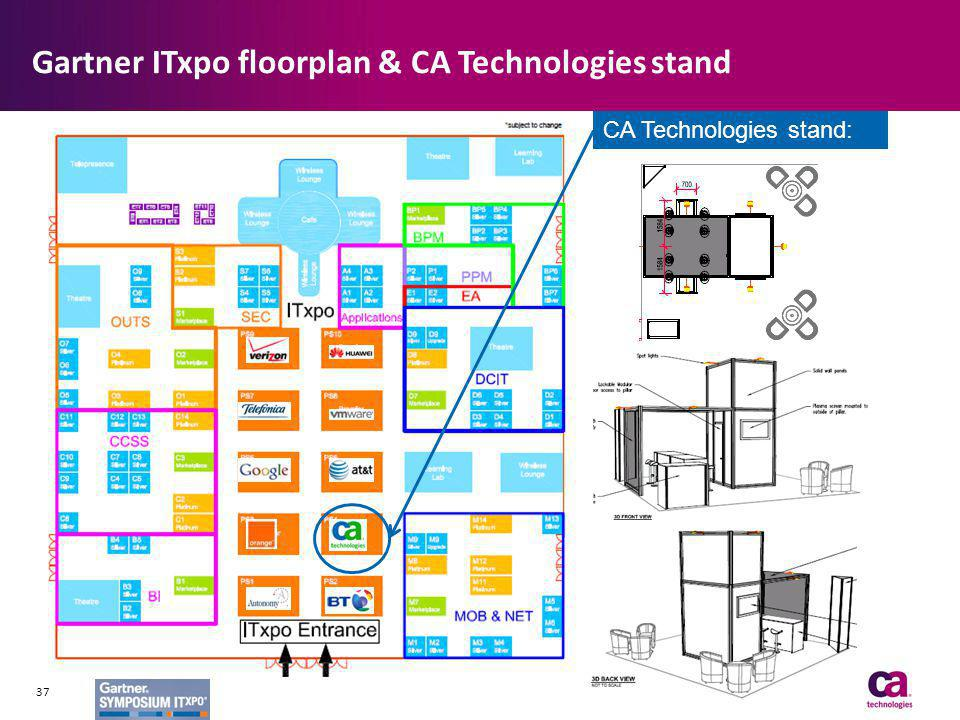 Gartner ITxpo floorplan & CA Technologies stand