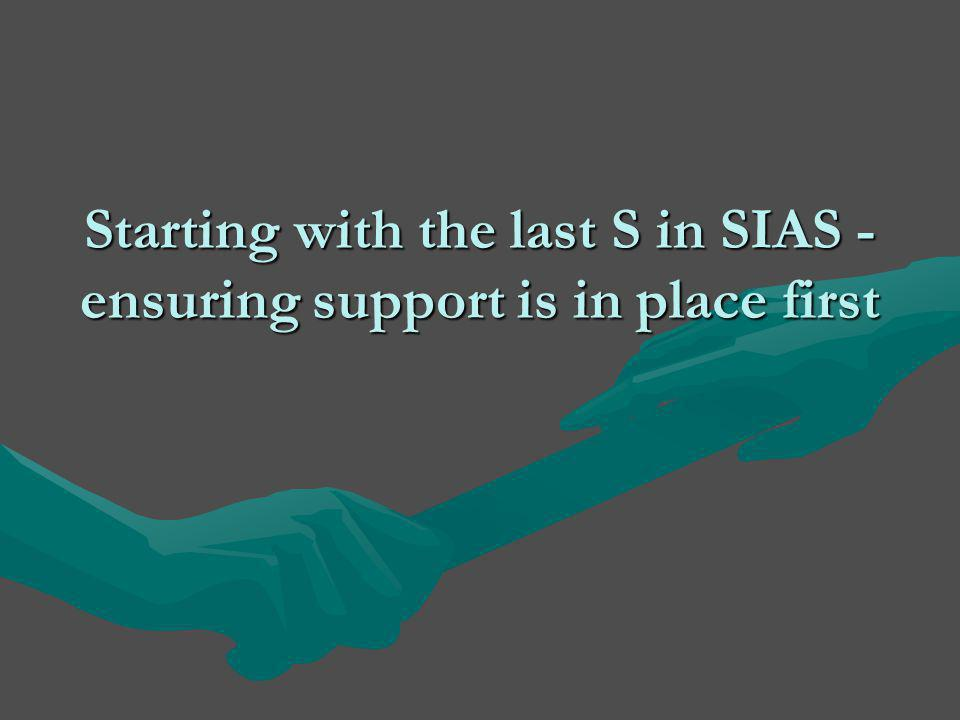 Starting with the last S in SIAS - ensuring support is in place first