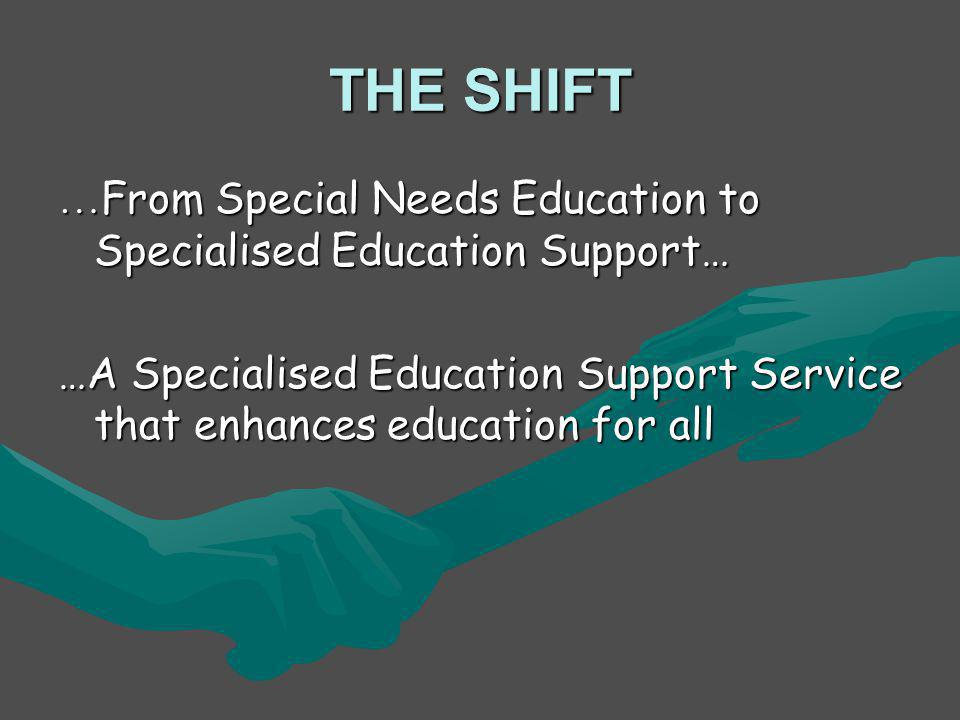 THE SHIFT …From Special Needs Education to Specialised Education Support… …A Specialised Education Support Service that enhances education for all.