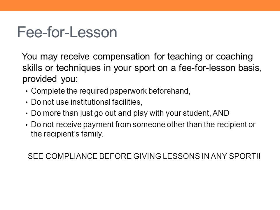 SEE COMPLIANCE BEFORE GIVING LESSONS IN ANY SPORT!!