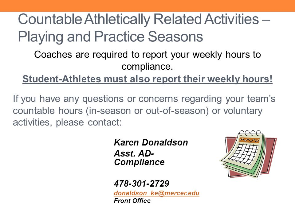 Student-Athletes must also report their weekly hours!