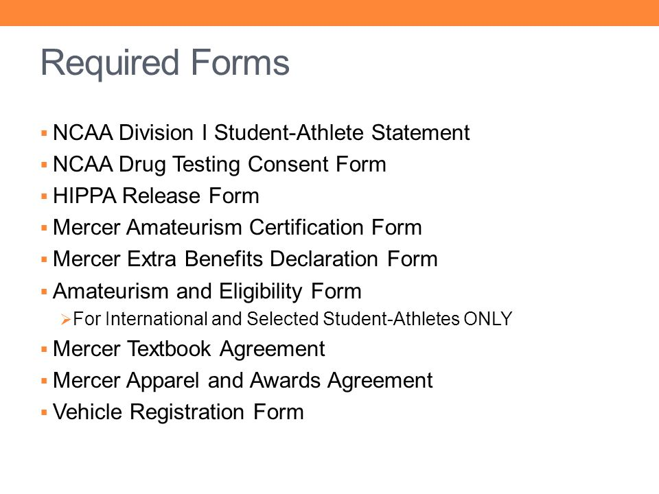 Required Forms NCAA Division I Student-Athlete Statement