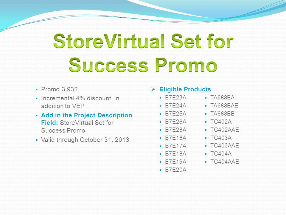 StoreVirtual Set for Success Promo