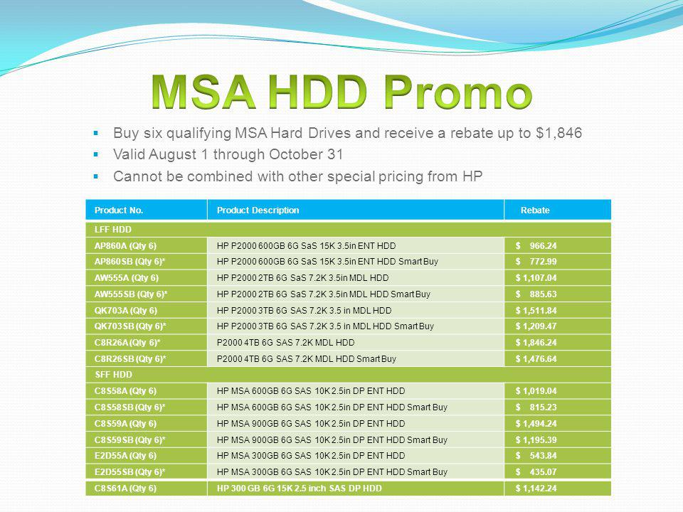 MSA HDD Promo Buy six qualifying MSA Hard Drives and receive a rebate up to $1,846. Valid August 1 through October 31.