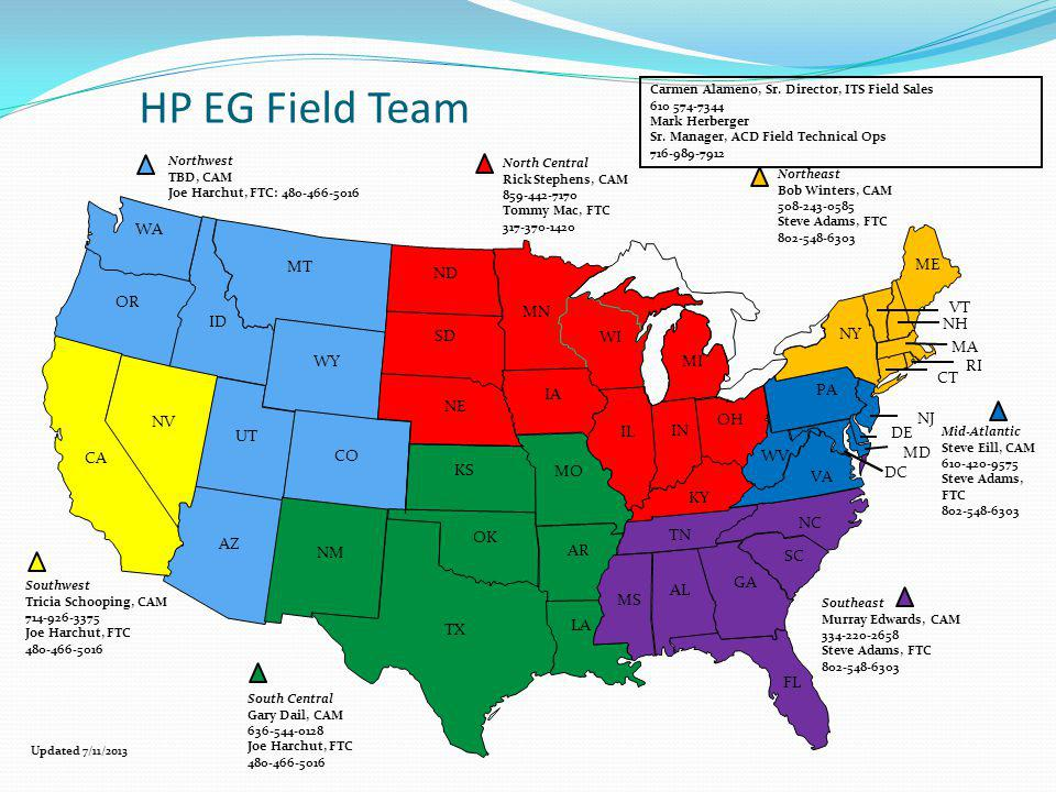 HP EG Field Team WA MT ME ND OR MN VT ID NH SD WI NY MA WY MI RI CT IA