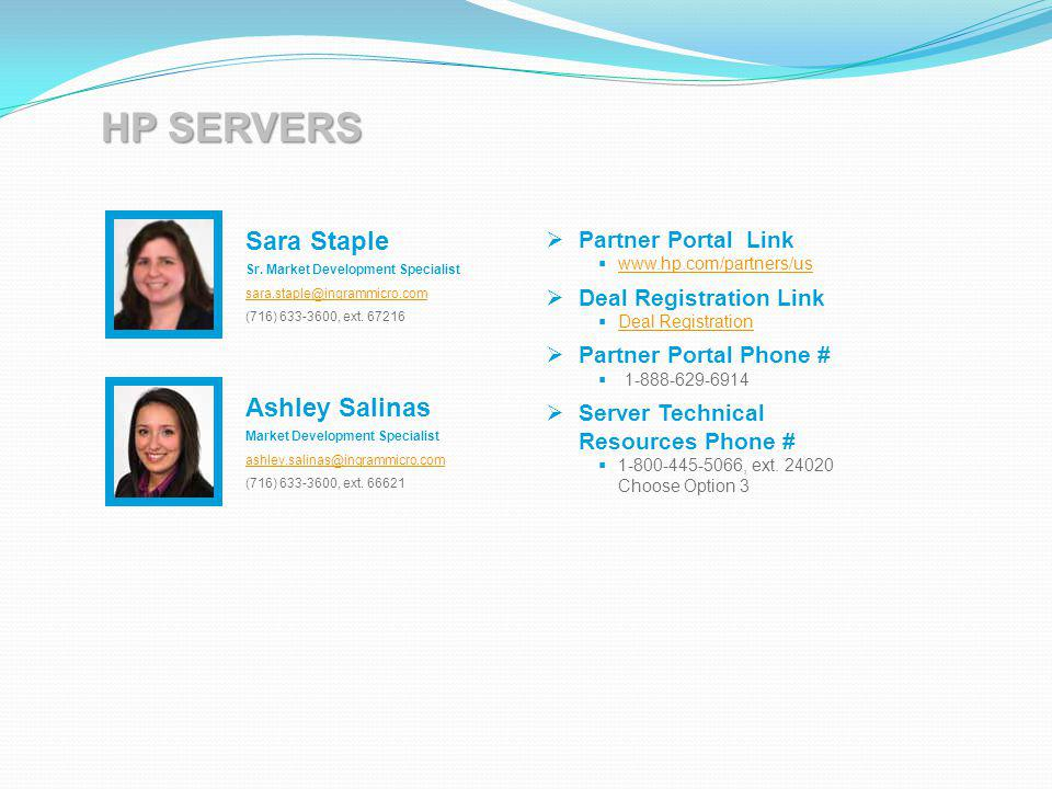 HP SERVERS Sara Staple Ashley Salinas Partner Portal Link