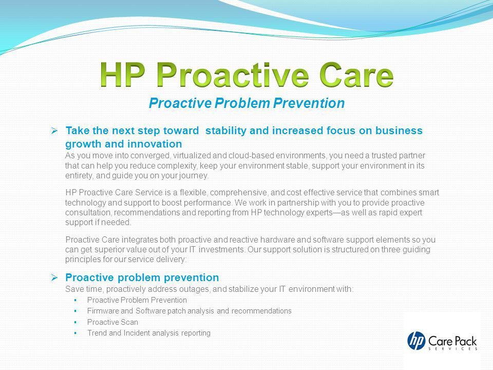 HP Proactive Care Proactive Problem Prevention