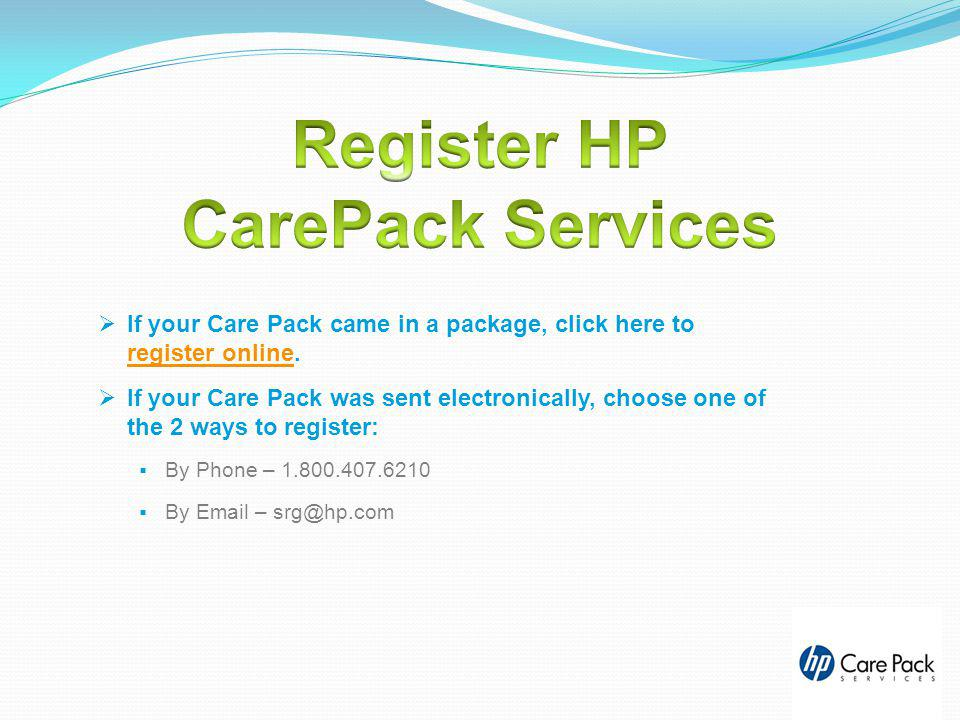 Register HP CarePack Services