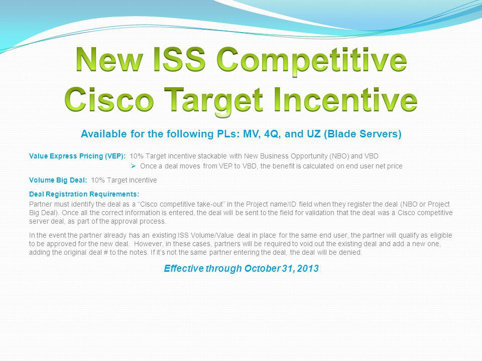 New ISS Competitive Cisco Target Incentive