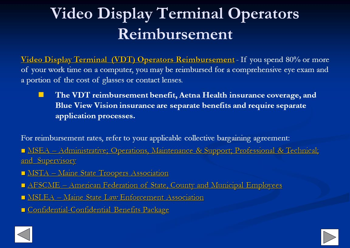 Video Display Terminal Operators Reimbursement