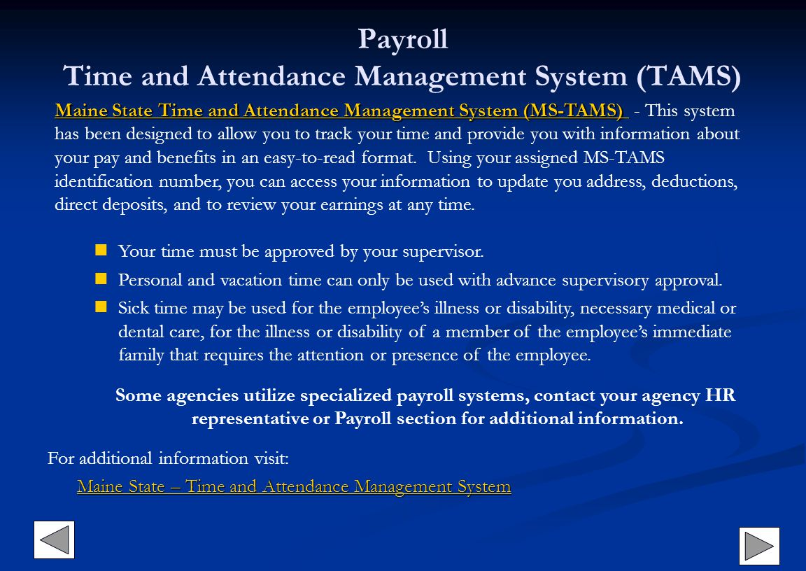 Payroll Time and Attendance Management System (TAMS)