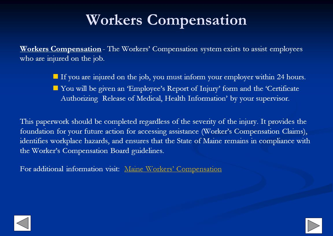 Workers Compensation Workers Compensation - The Workers' Compensation system exists to assist employees who are injured on the job.