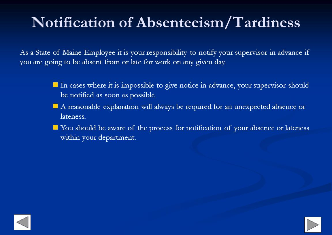 Notification of Absenteeism/Tardiness